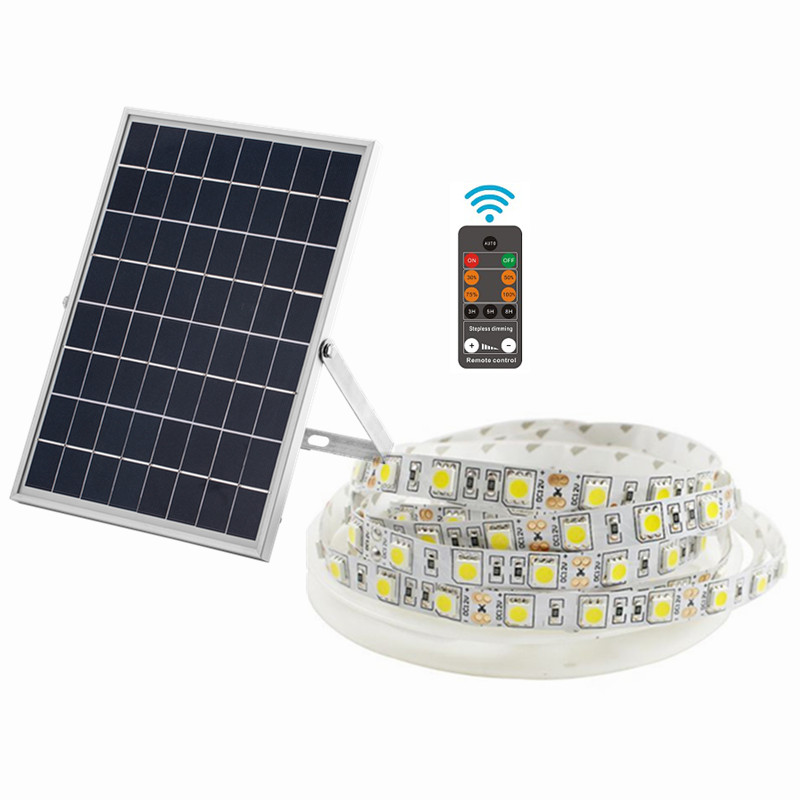 1500 lumens Waterproof IP66 battery powered led light strips with remote control and solar panel