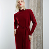 Top quality 100% merino wool dress women sexy long sleeve knitted dresses