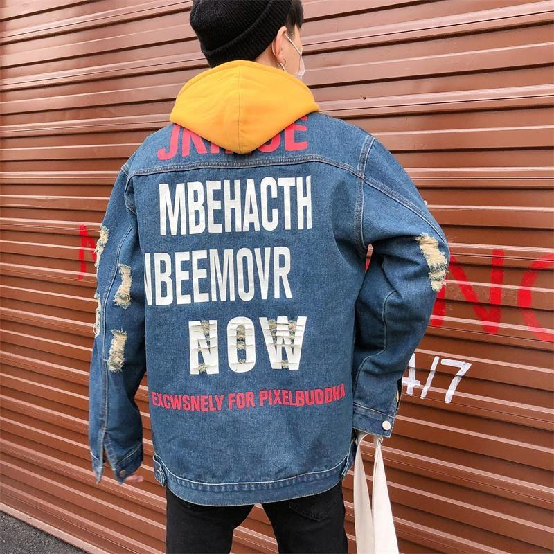 High quality Retail men's clothing clothes biker ripped denim jacket