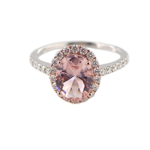 Provence Gems Real Gold 18K Pink Moissanite Diamond Oval Cut Finger Ring or Bands Solid White Gold Jewelry