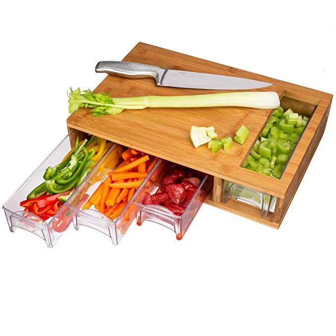 Wood Butcher Block Bamboo Cutting Board With 4 Drawers Large And Trays