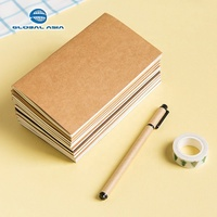 Top quality kraft paper exercise notebook with Gold Edge for school, A4 A5 A6 size leather note book with customized logo