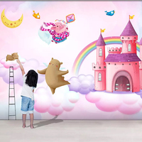 Korean pink children princess room wallpaper design home decoration