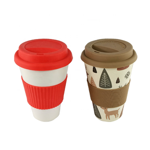 Wholesale Eco customized reusable 12oz bamboo fibre coffee cup with silicone holder