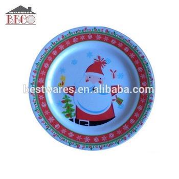 China Factory Custom Santa Plastic Plate For Christmas