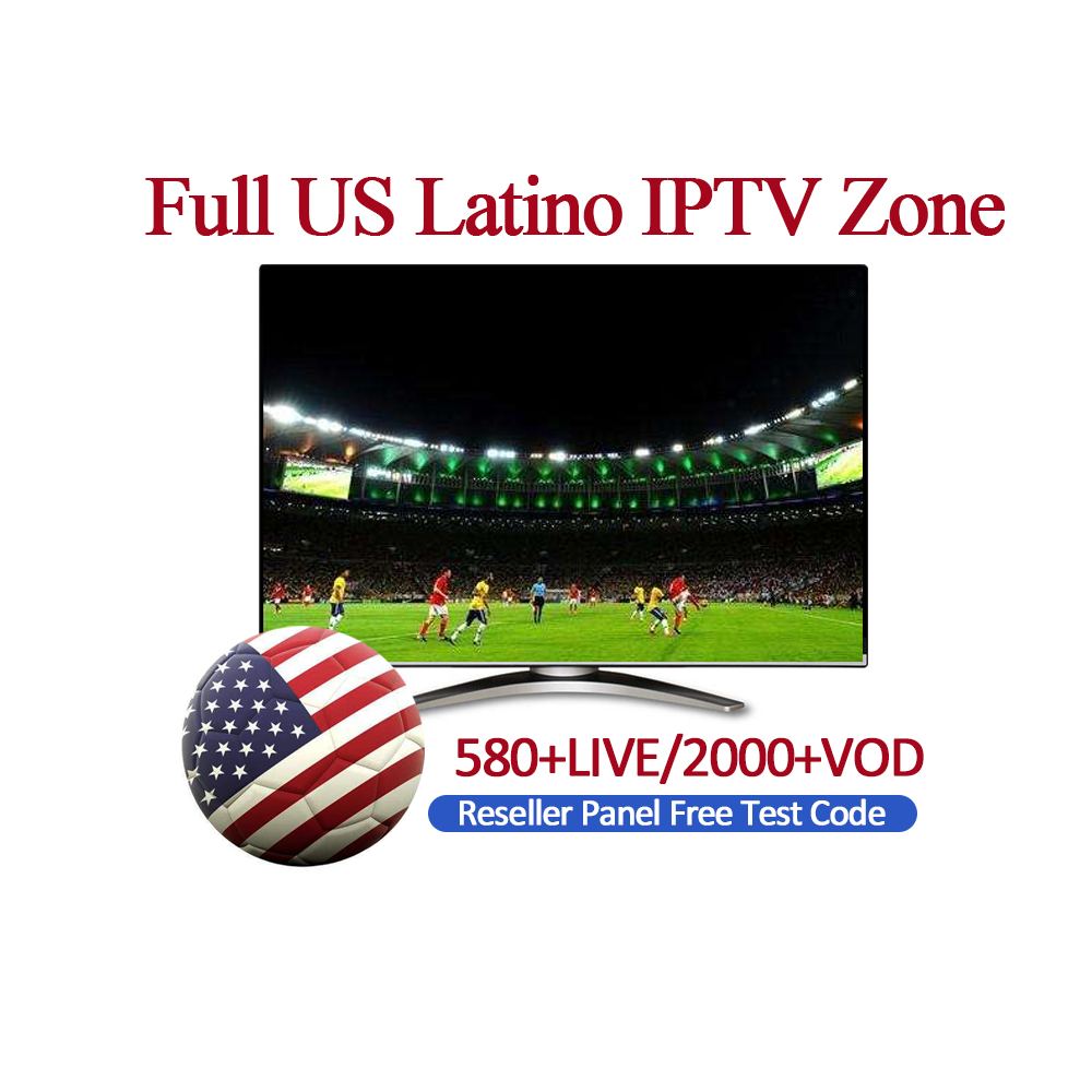 US Latino IPTV TV Box Set di Abbonamento TV Box Full US Latino IPTV Zona 580 + LIVE/2000 + VOD Rivenditore Pannello TV Box di Prova Gratuita IPTV