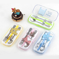 Portable Cute Stainless Steel Spoon Fork Case Plastic Chopsticks Picnic kids Cutlery Set