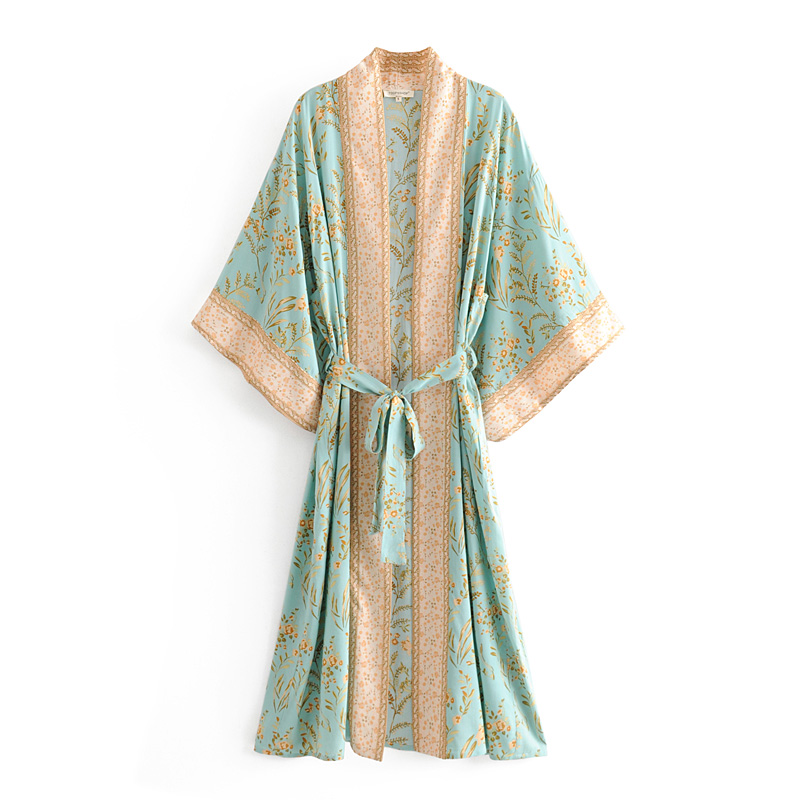 Beautiful floral printing <strong>western</strong> style <strong>women</strong> summer long kimono <strong>dress</strong> with belt
