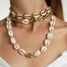 Original Nature White Shell Choker Necklace Beige Cord Gold Color Cowrie Shell Necklace