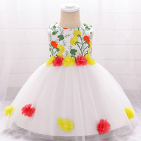 High Quality Sleeveless Newborn Baby Party Wear Wholesale Kids Clothes Toddler Girl Dresses L1878XZ