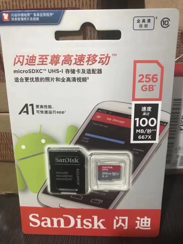 100% Authentic Wholesale SanDisk 32GB 64GB 128GB 256GB Flash Micro TF SD Cards A1 Ultra Class 10 U1 U3 A1 Memory Card