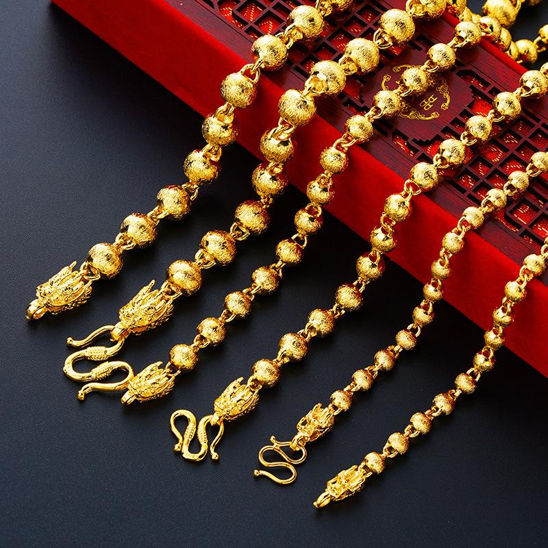 Africano Vintage Custom Made Disegni Dei Monili 24 K Oro Reale Riempito Placcato Lungo di Grandi Dimensioni Collana di Perline Per Gli Uomini