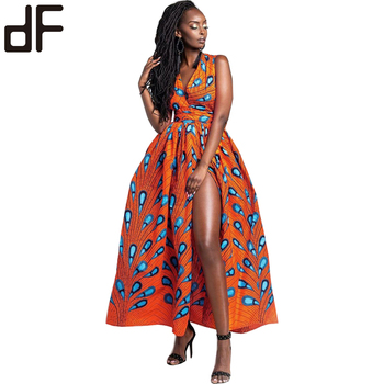 100% polyester african printed wax print dress fabric modern batik design fashion long maxi dress for sexy party africa women