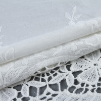 Newest single border embroidery voile material woven swiss cotton fabric textile