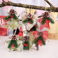 Popular Festival Decor 3Pcs Christmas Tree Heart Star Pine Cone Pendant Hanging Ornament