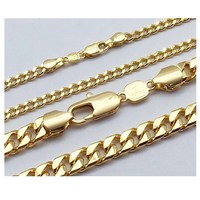 xuping cuban figaro jewelry dubai 24K gold plated chains necklace for men