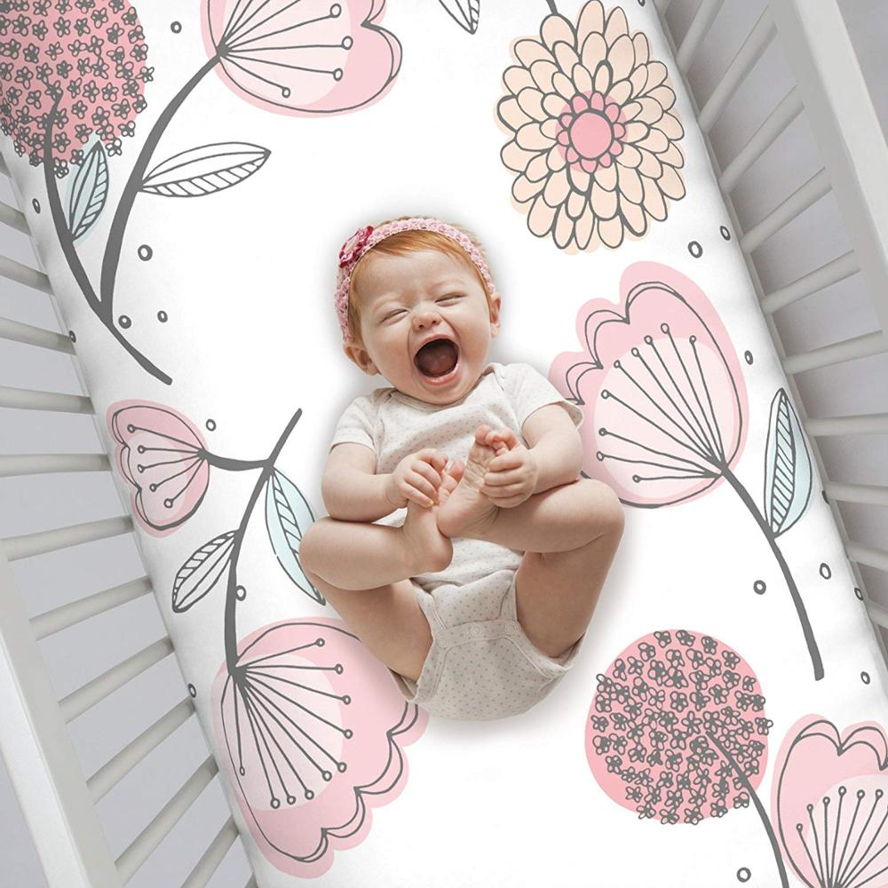 100% Cotton Fitted Crib <strong>Sheet</strong>, Floral, Pink/Gray