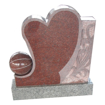 Art Sculpture Heart Ball Shape Headstone High Polished Gravestone Red Marble Granite Stone Monument Cemetery Tombstone