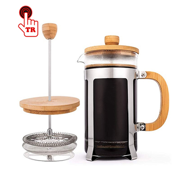 Bamboo Wood French Coffee Press, Borosilicate Glass Coffee&Tea Maker coffee plunger