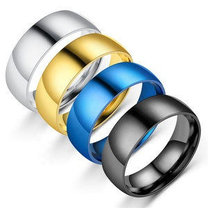 hot cheap beautiful gold 8mm stainless steel men simple ring
