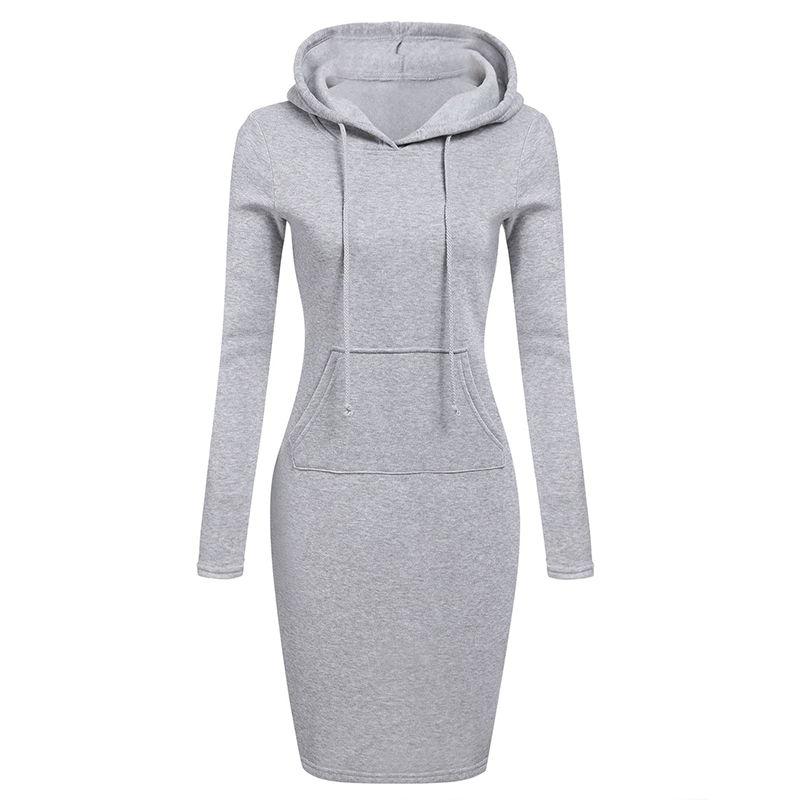 Autumn Winter Warm Sweatshirt Long-sleeved Dress Woman Clothing Hooded Collar Pocket Design Simple Woman Dress 2019 New