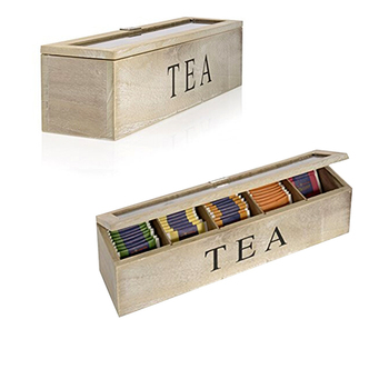 Custom Whitewash Antique 5 Compartments Wooden Tea Packaging Box With Glass Window Lid