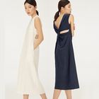 100% linen open back summer sexy women party dress