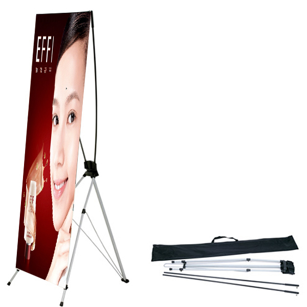 China x frame banner size 60 x 160 cm 80 x 180 cm folding pop up banner stand PVC printing X tripod banner stand