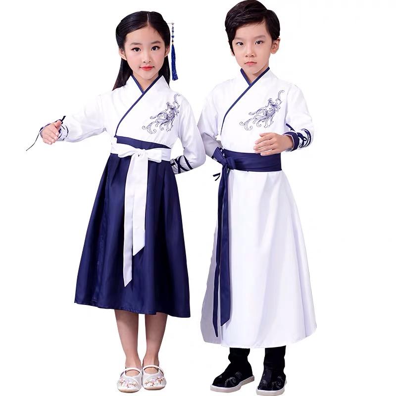 Biểu Diễn Sân Khấu Cho Trẻ Em Môn Đồ Cosplay Trắng Trung Quốc Hanfu Trang Phục Cho Bé Gái