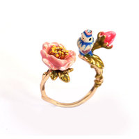 Three-dimensional pink rose blue tit bird adjustable ring plated gold enamel jewelry
