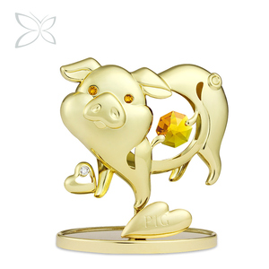 Crystocraft Wholesale Feng Shui Gift Gold Plated Chinese Zodiac Decorated with Crystals from Swarovski Pig Figurine