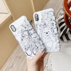 Anime cartoon cute hand-drawn sketch Disneys cover case for iPhone X XR XS Max glossy soft IMD back cover for 8 7 6 6splus coque
