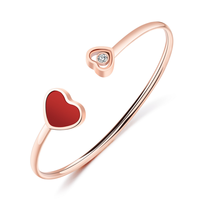 Red Happy Hearts Bracelets bangles Customized Stainless Steel jewelry for women