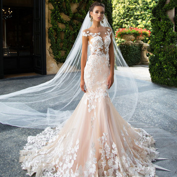2019 Mermaid Wedding Dresses Sheer Neck Lace Asa Beading Appliques Illusion Bodices Bridal Gowns Wedding Gowns Vestido De Noiva Buy Wedding
