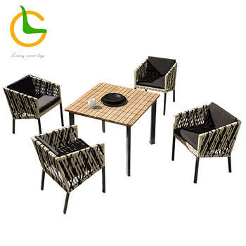 European style high quality aluminum hotel cafe restaurant chairs/industrial rope chair restaurant dining