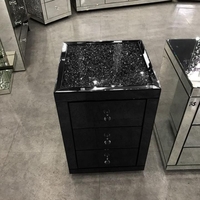 Luxury Black Mirrored Sparkling Crushed Diamond Bedside Table /nightstand/night table