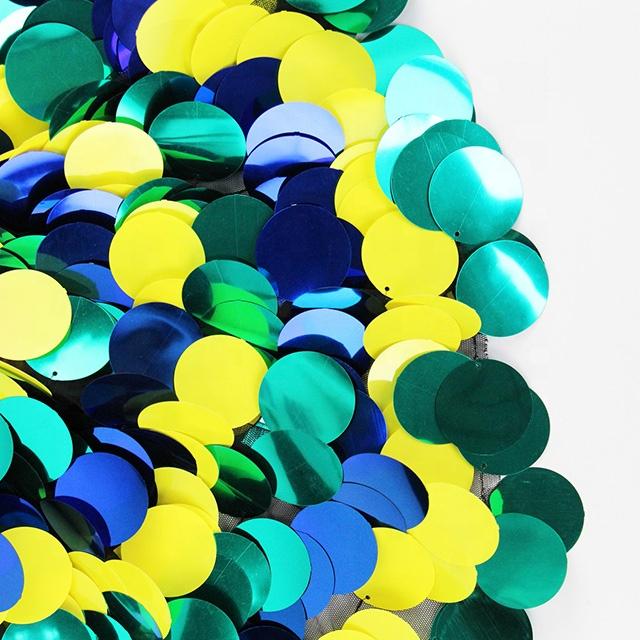 2019 Baru Biru Hijau dan Kuning Dekoratif Latar Belakang Bordir Oval Besar Payet Kain