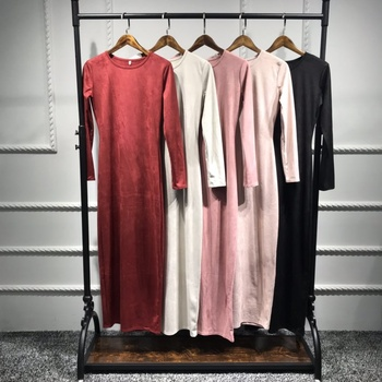 Wholesale muslim women dress bottom islamic velvet abaya dubai dress 2019