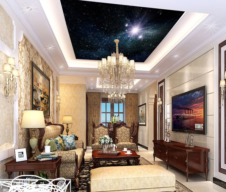 Royal soffitto carta da parati 3d Star Universe design glitter carta da parati disegno specail per soffitto decor
