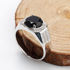 Trendy Real 925 Sterling Silver Rings with Black Cubic Zircon and Small Clear CZ Fashion Rings For Men