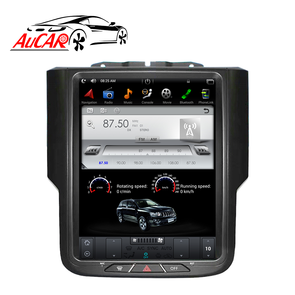 "AuCAR 10.4 ""Tesla Vertical Android Rádio Do Carro para Dodge Ram 2014-2018 Tela de Toque Estéreo GPS Áudio e Vídeo multimídia BT 4G Wi-fi"