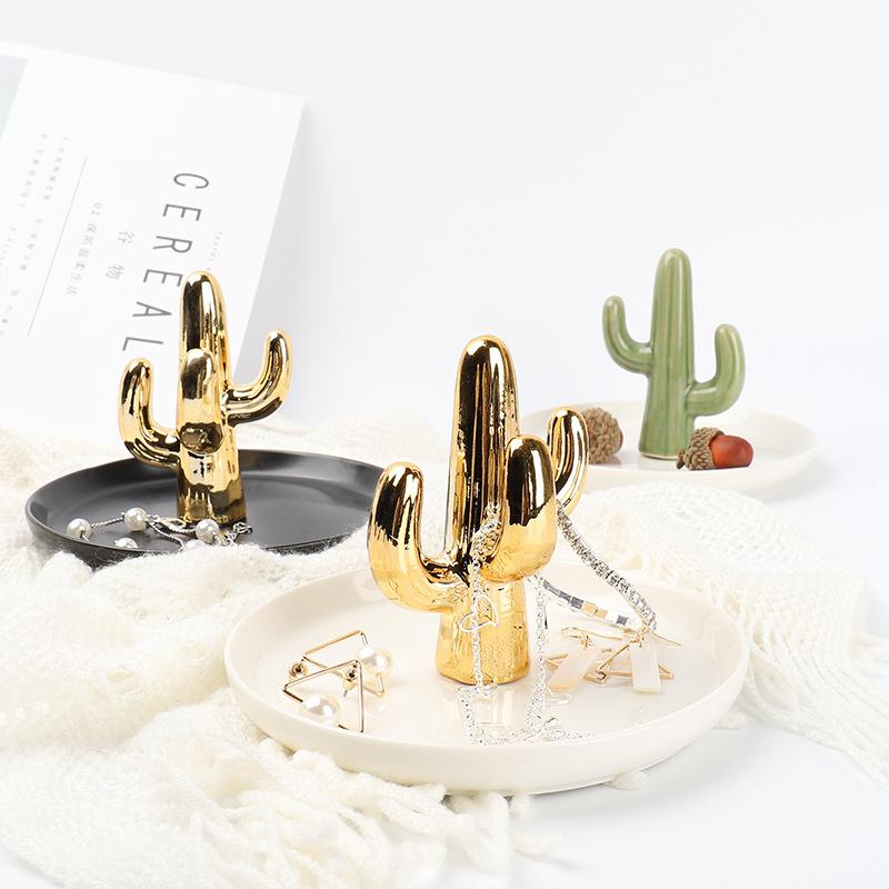 Ceramic Plate Jewelry Tray jewel Holder Jewelry Display Ring Dish Cactus shape