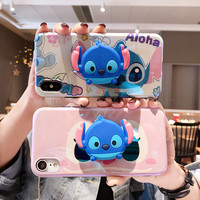 3D Cartoon Poohs Stitch Air Bag Cell Phone Bracket IMD Case For iPhone XS XR XS MAX Case For iPhone X 6 6S 7 8 Plus Case