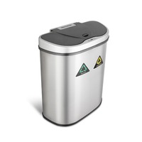 Ninestars stainless steel sensor dustbin 70L household recycling infrared trash bin wholesale 2 compartments smart trash can