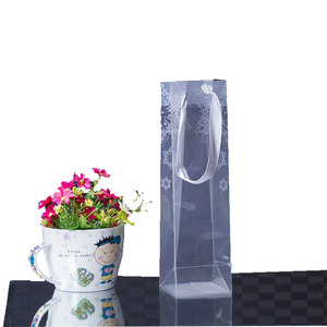 Custom made clear transparent wine plastic bag with handles