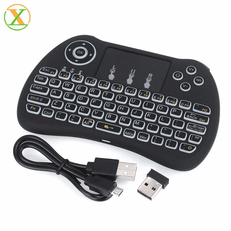 Terbaik Jual H9 Mini Keyboard Nirkabel 2.4G Hz Backlit Keyboard H9 dengan Baterai Isi Ulang untuk Android TV Box PC