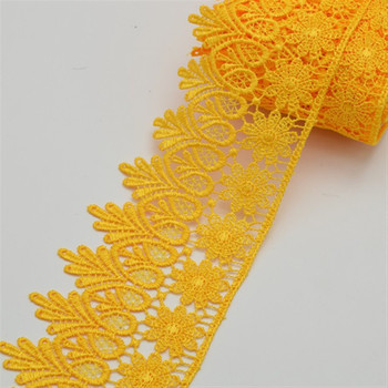 Hot sale lace trim black appliqued guipure many colors in stock 8cm wide