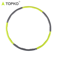 TOPKO wholesale custom logo home exercise bodybuilding durable weight exercise 6 detachable section PP hula ring hoop