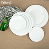 customized size economical ceramic white dinner flat plate for restaurant wedding and banquet