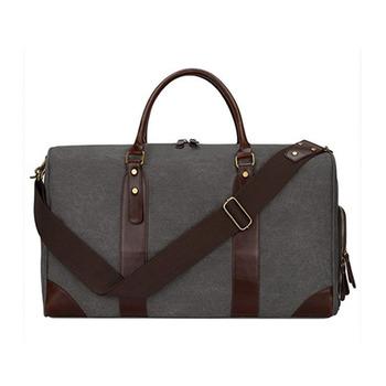Canvas Leather Trim Travel Tote Duffel Shoulder Handbag Weekender Bag With Shoe Compartment